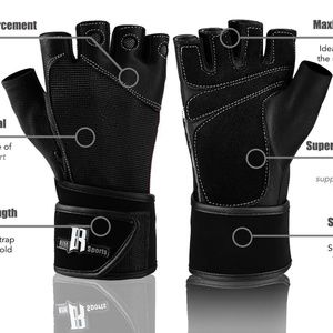 Accessories - NEW Weight Lifting Gloves With Wrist Wrap L